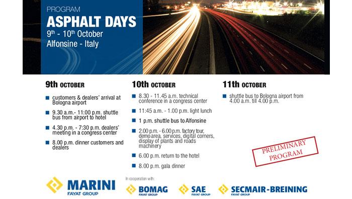 """EQUIVIAL SRL estará presente en el evento """"ASPHALT DAYS"""" de MARINI programado para el mes de Octubre 2018."""