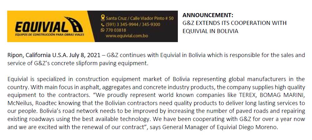G&Z AMPLIA SU COOPERACIÓN CON EQUIVIAL EN BOLIVIA